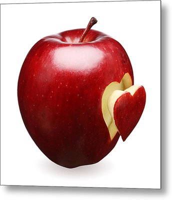 Red Apple With Heart Metal Print by Johan Swanepoel