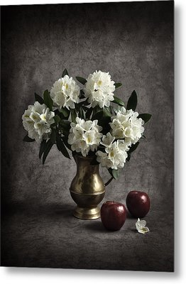 Red Apples And White Rhododendron Metal Print by Jitka Unverdorben