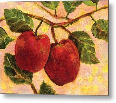 Red Apples On A Branch Metal Print by Jen Norton