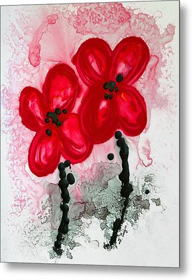 Red Asian Poppies Metal Print by Sharon Cummings