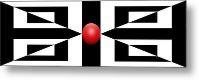 Red Ball 2a Panoramic Metal Print by Mike McGlothlen