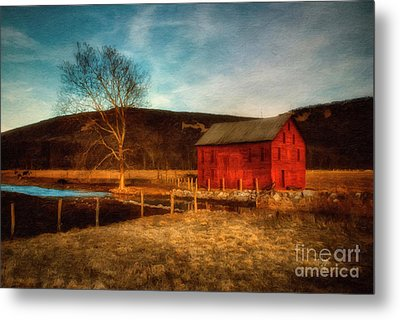 Red Barn At Twilight Metal Print by Lois Bryan