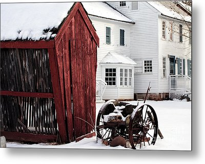 Red Barn In Winter Metal Print by John Rizzuto