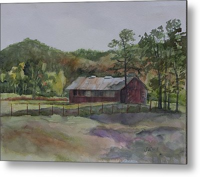 Red Barn Metal Print by Janet Felts