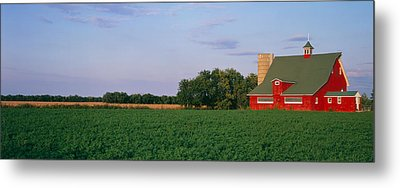 Red Barn Kankakee Il Usa Metal Print by Panoramic Images