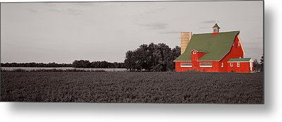 Red Barn, Kankakee, Illinois, Usa Metal Print by Panoramic Images
