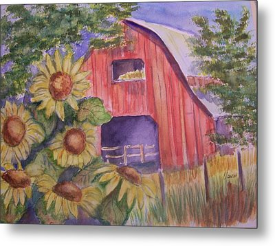 Red Barn With Sunflowers Metal Print by Belinda Lawson