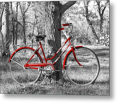 Red Bicycle Metal Print by James Granberry