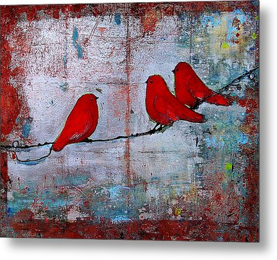 Red Birds Let It Be Metal Print by Blenda Studio