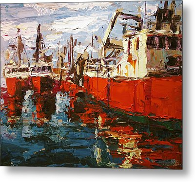 Red Boats Metal Print by Brian Simons