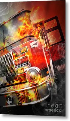 Red Burning Fire Rescue Truck With Flames Metal Print by Angela Waye