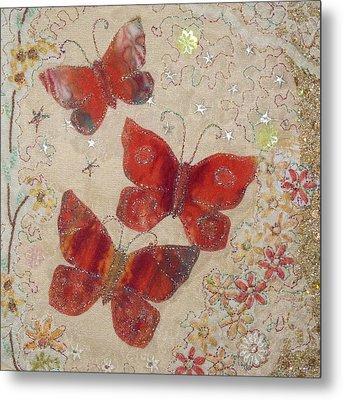 Red Butterflies Metal Print by Hazel Millington