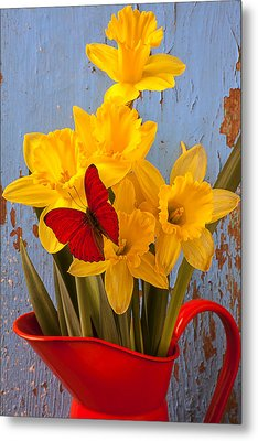Red Butterfly On Daffodils Metal Print by Garry Gay