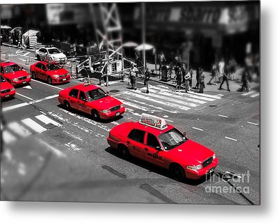 Red Cabs On Time Square Metal Print by Hannes Cmarits