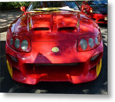 Red Car In Dappled Sunshine Metal Print by Susan Savad