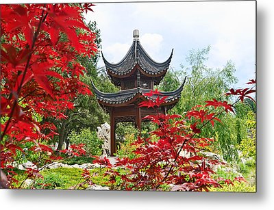 Red - Chinese Garden With Pagoda And Lake. Metal Print by Jamie Pham