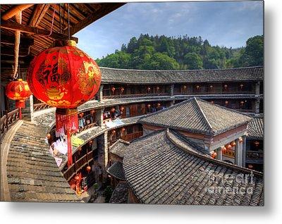 Red Chinese Lantern In A Hakka Tulou  Fujian Metal Print by Fototrav Print