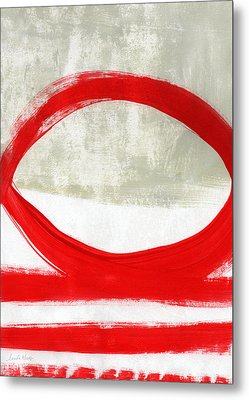 Red Circle 4- Abstract Painting Metal Print by Linda Woods