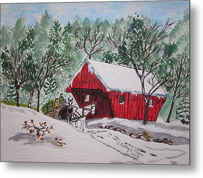 Red Covered Bridge Christmas Metal Print by Kathy Marrs Chandler