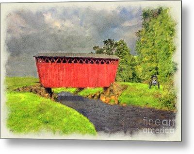 Red Covered Bridge With Car Metal Print by Dan Friend