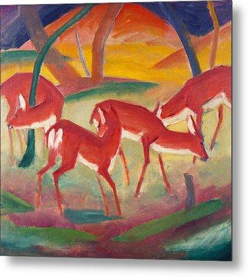 Red Deer 1 Metal Print by Franz Marc