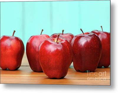 Red Delicious Apples On Old School Desk Metal Print by Sandra Cunningham