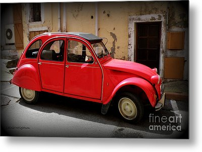 Red Deux Chevaux Metal Print by Lainie Wrightson