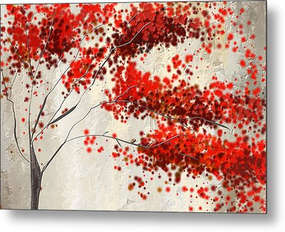 Red Divine- Autumn Impressionist Metal Print by Lourry Legarde