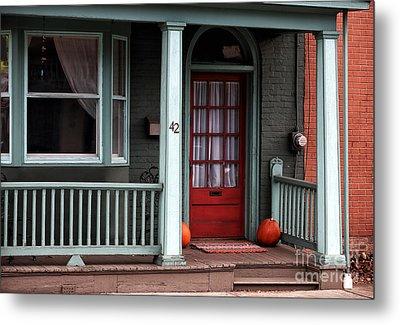Red Door In Lambertville Metal Print by John Rizzuto