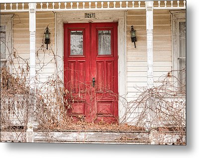 Red Doors - Charming Old Doors On The Abandoned House Metal Print by Gary Heller