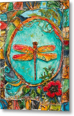 Red Dragonfly Metal Print by Patricia Allingham Carlson