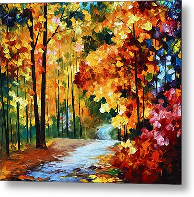 Red Fall Metal Print by Leonid Afremov