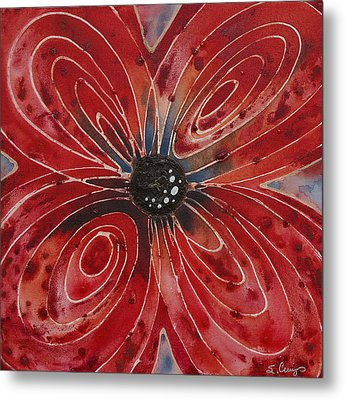 Red Flower 2 - Vibrant Red Floral Art Metal Print by Sharon Cummings