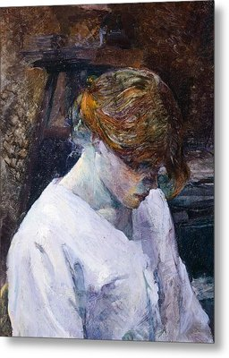Red-haired Woman In White Camisole Metal Print by Henri de Toulouse Lautrec
