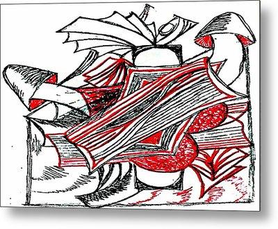 Red Heart Mushroom Metal Print by Becky Sterling