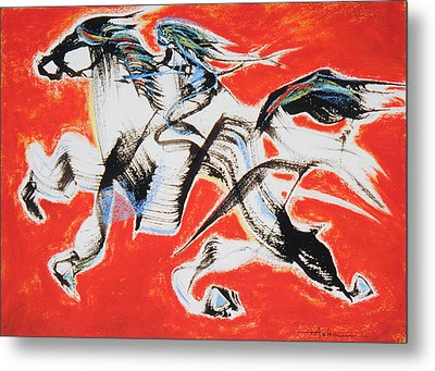 Red Horse And Rider Metal Print by Asha Carolyn Young