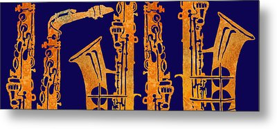 Red Hot Sax Keys Metal Print by Jenny Armitage