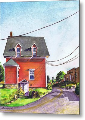 Red House Bass Harbor Metal Print by Susan Herbst