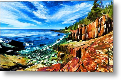 Red Ledge At Quoddy Head Metal Print by Bill Caldwell -        ABeautifulSky Photography