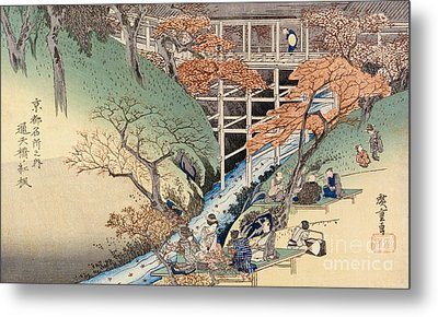 Red Maple Leaves At Tsuten Bridge Metal Print by Ando Hiroshige