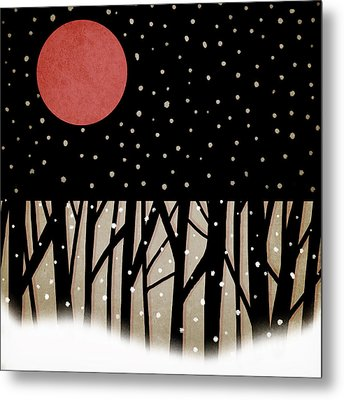Red Moon And Snow Metal Print by Carol Leigh