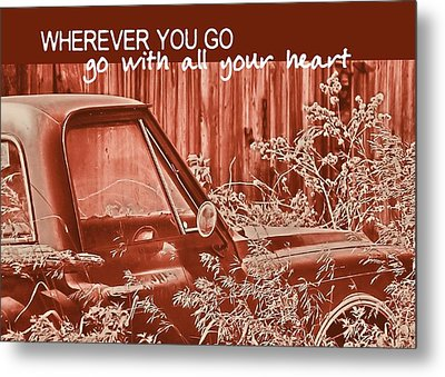 Red Pickup Quote Metal Print by JAMART Photography