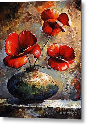 Red Poppies 02 Metal Print by Emerico Imre Toth