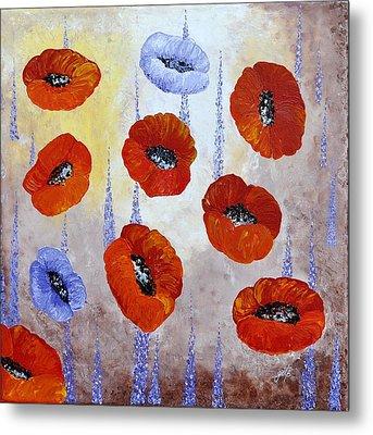 Red Poppies  Metal Print by Georgeta  Blanaru