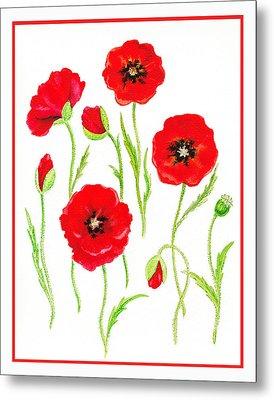 Red Poppies Metal Print by Irina Sztukowski