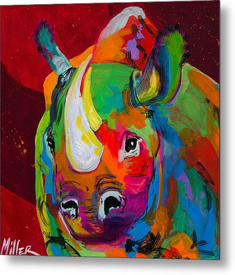 Red Rhino Metal Print by Tracy Miller