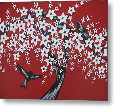 Red Romance Metal Print by Cathy Jacobs