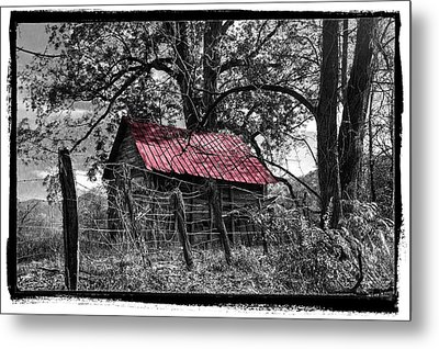 Red Roof Metal Print by Debra and Dave Vanderlaan