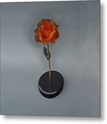 Red Rose Metal Print by Leslie Dycke