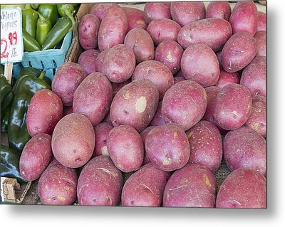 Red Skin Potatoes Stall Display Metal Print by JPLDesigns